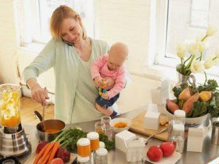 A mother preparing food