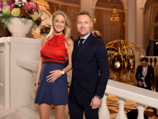 GENEVA, SWITZERLAND - JANUARY 17:  Storm and Ronan Keating visit the IWC booth during the launch of the Da Vinci Novelties from the Swiss luxury watch manufacturer IWC Schaffhausen at the Salon International de la Haute Horlogerie (SIHH) 2017 on January 17, 2017 in Geneva, .  (Photo by Harold Cunningham/Getty Images for IWC)