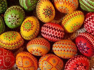 SCHLEIFE, GERMANY - MARCH 21:  Easter eggs painted in traditional Sorbian motives lie on display and for sale at the annual Easter egg market on March 21, 2010 in Schleife, Germany. Easter egg painting is a strong part of Sorbian tradition and visual elements within the painting are meant to ward off evil. Sorbians are a Slavic minority in eastern Germany and many still speak Sorbian, a language closely related to Polish and Czech.  (Photo by Sean Gallup/Getty Images)