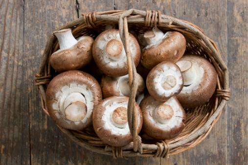 Basket of Agaricus mushroom
