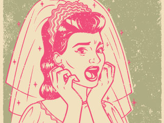 Retro Screen Print of a Terrified Bride