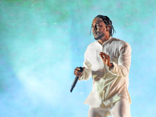 INDIO, CA - APRIL 23:  Kendrick Lamar performs on the Coachella Stage during day 3 (Weekend 2) of the Coachella Valley Music And Arts Festival on April 23, 2017 in Indio, California.  (Photo by Kevin Winter/Getty Images for Coachella)