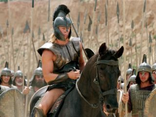 "BRAD PITT stars as 'Achilles' in Warner Bros. Pictures' epic action adventure ""Troy,"" also starring Eric Bana and Orlando Bloom. PHOTOGRAPHS TO BE USED SOLELY FOR ADVERTISING, PROMOTION, PUBLICITY OR REVIEWS OF THIS SPECIFIC MOTION PICTURE AND TO REMAIN THE PROPERTY OF THE STUDIO. NOT FOR SALE OR REDISTRIBUTION."