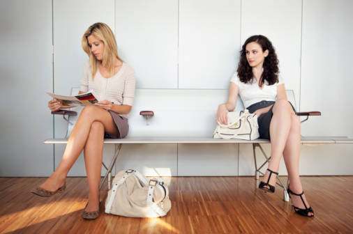 Two young women in waiting room