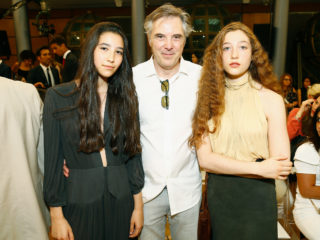PARIS, FRANCE - JULY 05:  Olivier Lapidus and his daughters Koukla and Mila attend the Gyunel Haute Couture Fall/Winter 2017-2018 show as part of Haute Couture Paris Fashion Week on July 5, 2017 in Paris, France.  (Photo by Julien M. Hekimian/Getty Images for Gyunel)