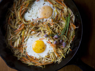 BRUNSWICK, ME - JUNE 6: A second day root vegetable hash with eggs and chives. (Staff photo by Brianna Soukup/Staff Photographer)
