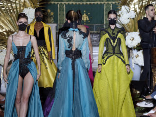 PARIS, FRANCE - JULY 06:  Models walk the runway during the Eymeric Francois Haute Couture Fall/Winter 2017-2018 show as part of Haute Couture Paris Fashion Week on July 6, 2017 in Paris, France.  (Photo by Thierry Chesnot/Getty Images)