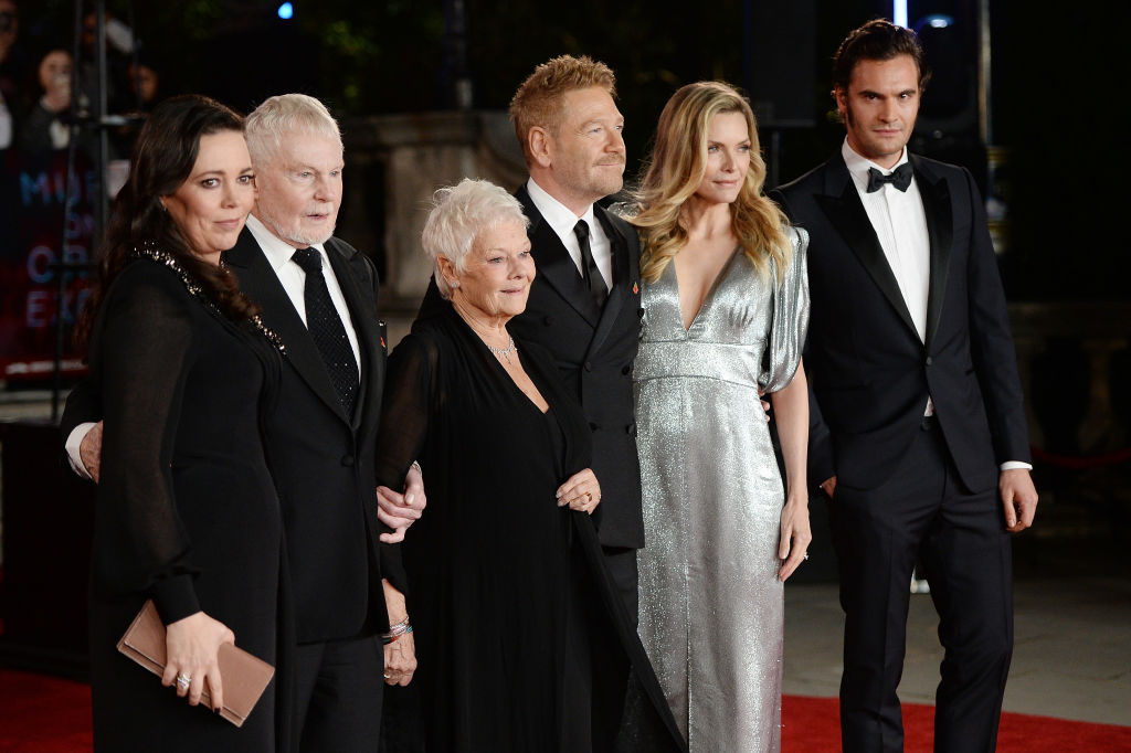 LONDON, ENGLAND - NOVEMBER 02:  (L-R) Olivia Colman, Derek Jacobi, Dame Judi Dench, Kenneth Branagh, Michelle Pfeiffer and Tom Bateman attend the 'Murder On The Orient Express' World Premiere held at Royal Albert Hall on November 2, 2017 in London, England.  (Photo by Eamonn M. McCormack/Eamonn M. McCormack/Getty Images/for 21st Century Fox)