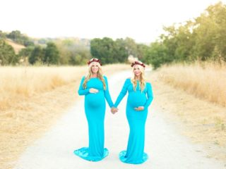 Twins-Who-Gave-Birth-Same-Day-Re-Create-Maternity-Photo