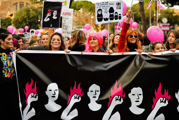 National rally in Rome, organised by feminist platform Non Una di Meno, on the the international day for the elimination of violence against women, November ber 25, 2017. Since the beginning of the year in Italy only there were 84 victims of gender violence.  (Photo by Michele Spatari/NurPhoto via Getty Images)