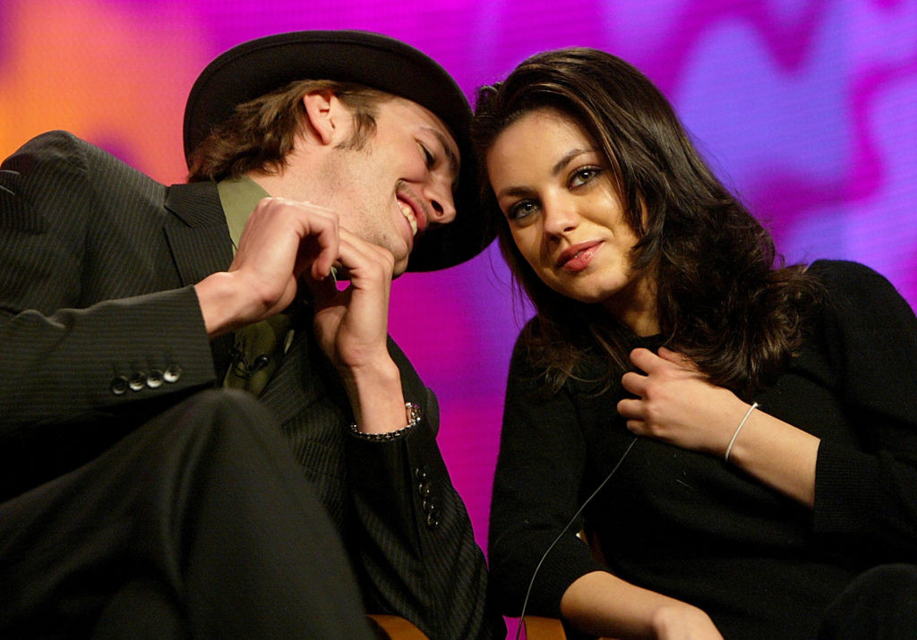 HOLLYWOOD, CA - JANUARY 16:   Actor Ashton Kutcher (L) and Actress Mila Kunis during the FOX Television Critics Association Press Tour on January 16, 2004 at the Renaissance Hollywood Hotel in Hollywood, CA. (Photo by Kevin Winter/Getty Images)