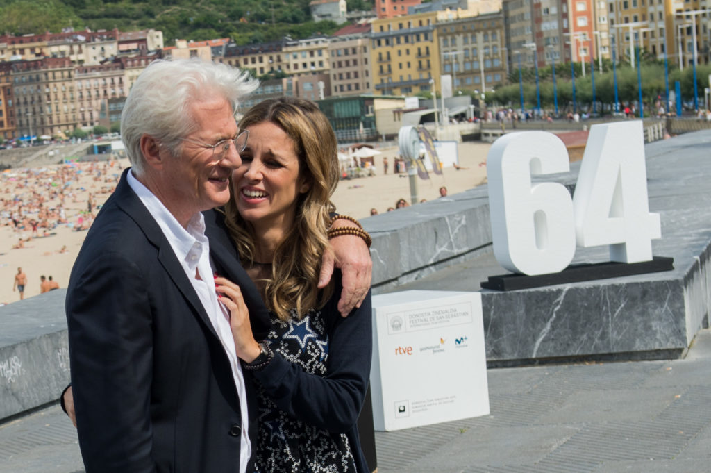 SAN SEBASTIAN, SPAIN - SEPTEMBER 24:  Richard Gere and Alejandra Silva attend 'Time Out Of Mind' photocall during 64th San sebastian Film Festival on September 24, 2016 in San Sebastian, Spain.  (Photo by Carlos Alvarez/Getty Images)