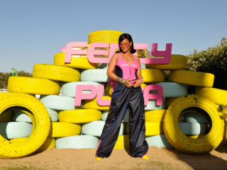 THERMAL, CA - APRIL 14:  Rihanna attends the FentyXPUMA Drippin event launching the Summer '18 collection at Coachella on April 14, 2018 in Thermal, California.  (Photo by John Sciulli/Getty Images for PUMA)