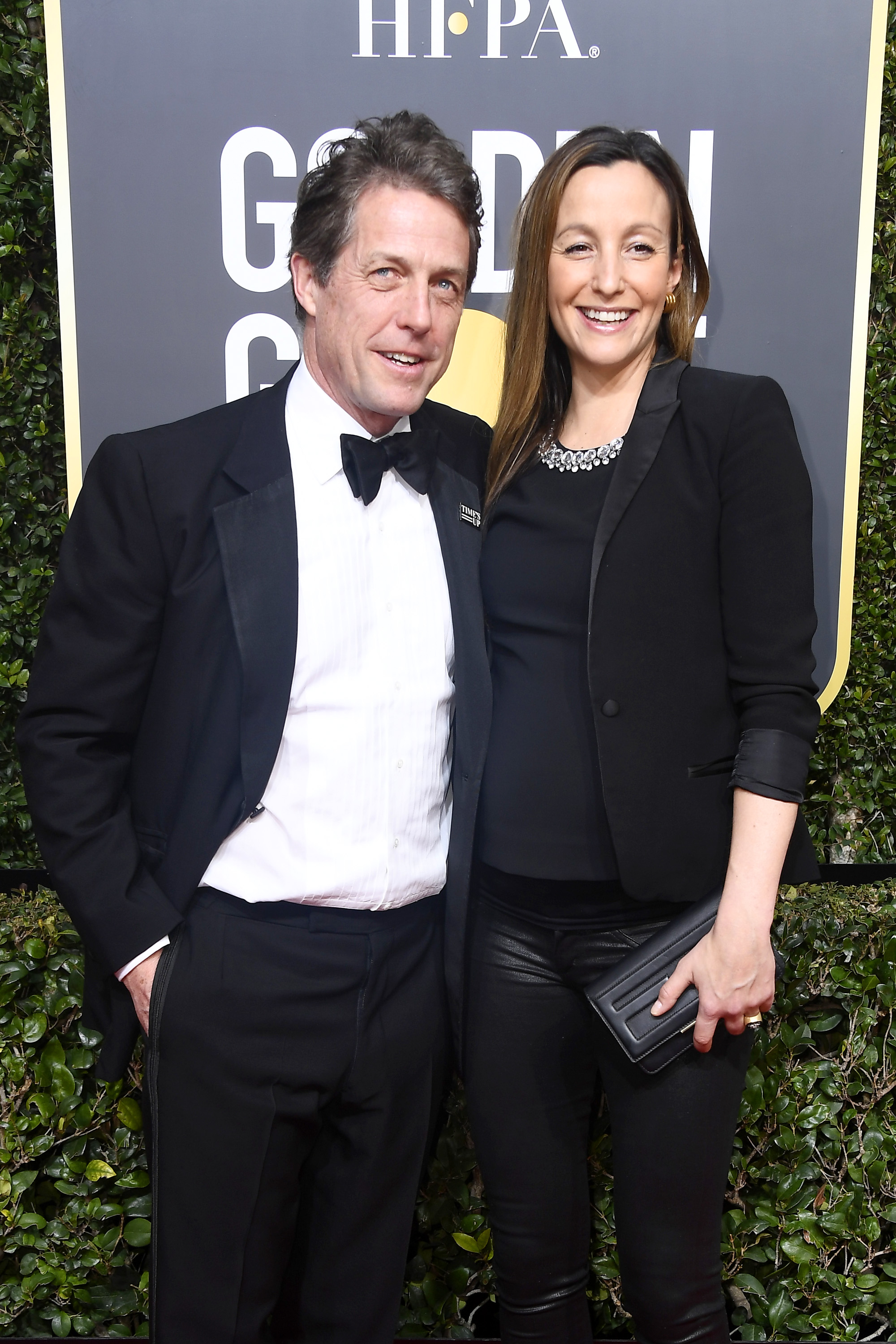 BEVERLY HILLS, CA - JANUARY 07: Actor Hugh Grant and Anna Eberstein attend The 75th Annual Golden Globe Awards at The Beverly Hilton Hotel on January 7, 2018 in Beverly Hills, California. (Photo by Frazer Harrison/Getty Images)