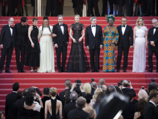 "CANNES, FRANCE - MAY 08:  (L-R) Pierre Lescure,  jury members Chang Chen, Kristen Stewart, Ava DuVernay, Denis Villeneuve, jury president Cate Blanchett, Robert Guediguian, Khadja Nin, Andrey Zvyagintsev, Lea Seydoux and Cannes Film Festival Director Thierry Fremaux attend the screening of ""Everybody Knows (Todos Lo Saben)"" and the opening gala during the 71st annual Cannes Film Festival at Palais des Festivals on May 8, 2018 in Cannes, France.  (Photo by Tristan Fewings/Getty Images)"