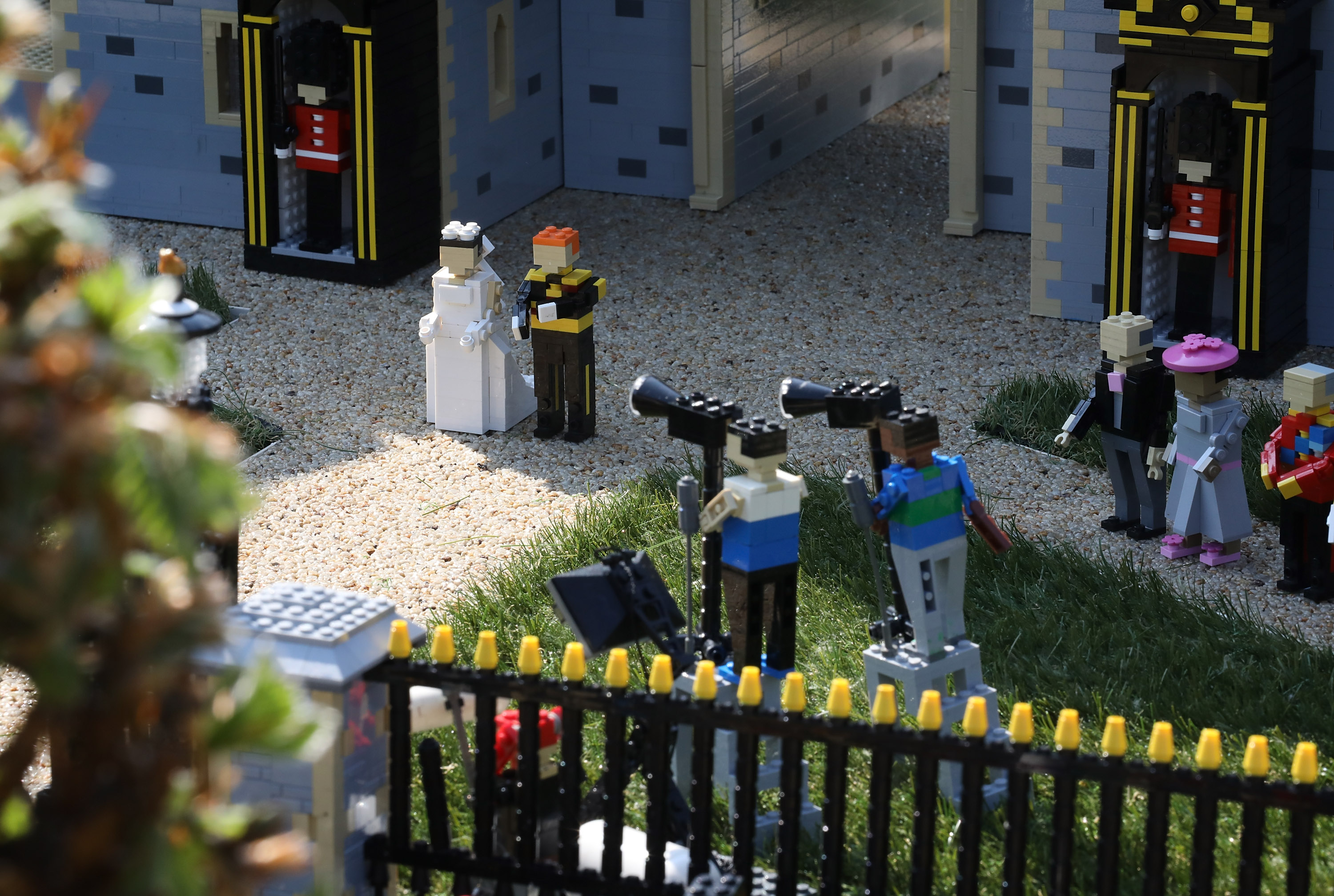 WINDSOR, ENGLAND - MAY 08: Detail of a press photographers in a brand new model of Windor Castle goes on permananent display to celebate the wedding of HRH Prince Harry and Meghan Markle at LEGOLAND Windsor on May 8, 2018 in Windsor, England. Joining Prince Harry and Meghan Markle are members of the Royal Family and expected guests including The Spice Girls and Elton John. (Photo by Tim P. Whitby/Tim P. Whitby/Getty Images)