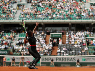 PARIS, FRANCE - MAY 29:  Serena Williams of The United States serves during her ladies singles first round match against Kristyna Pliskova of Czech Republic during day three of the 2018 French Open at Roland Garros on May 29, 2018 in Paris, France.  (Photo by Matthew Stockman/Getty Images)