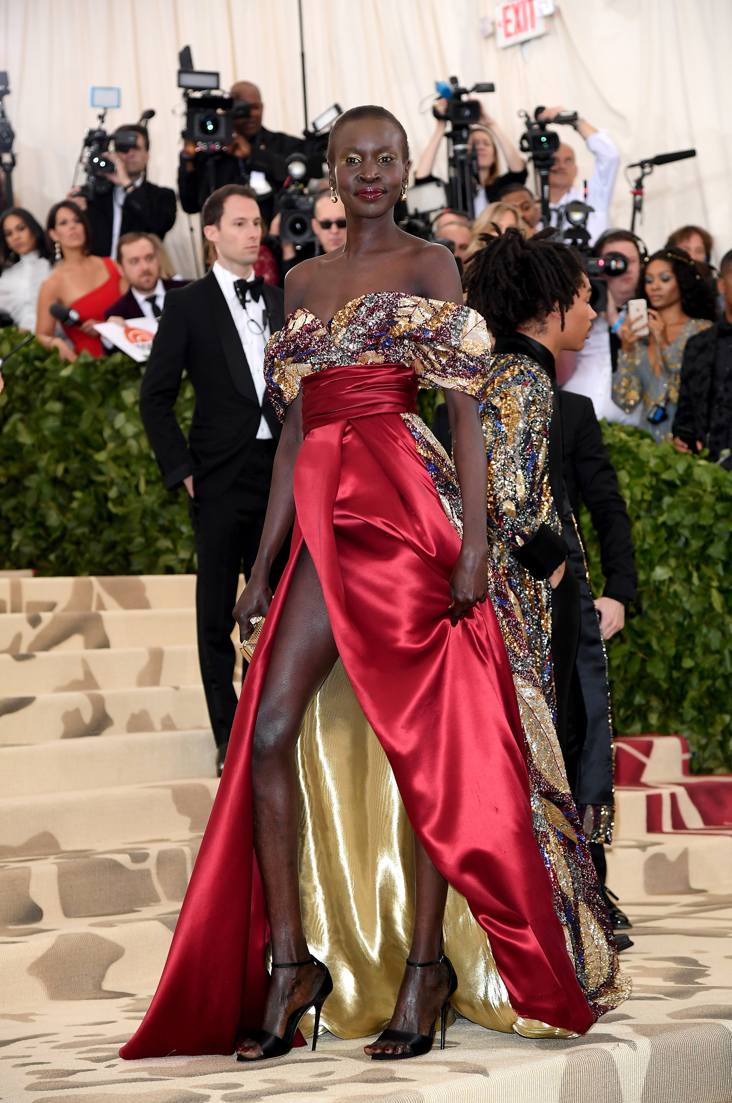 NEW YORK, NY - MAY 07:  Alek Wek attends Heavenly Bodies: Fashion & The Catholic Imagination Costume Institute Gala at the Metropolitan Museum of Art on May 7, 2018 in New York City.  (Photo by Karwai Tang/Karwai Tang/Getty Images)