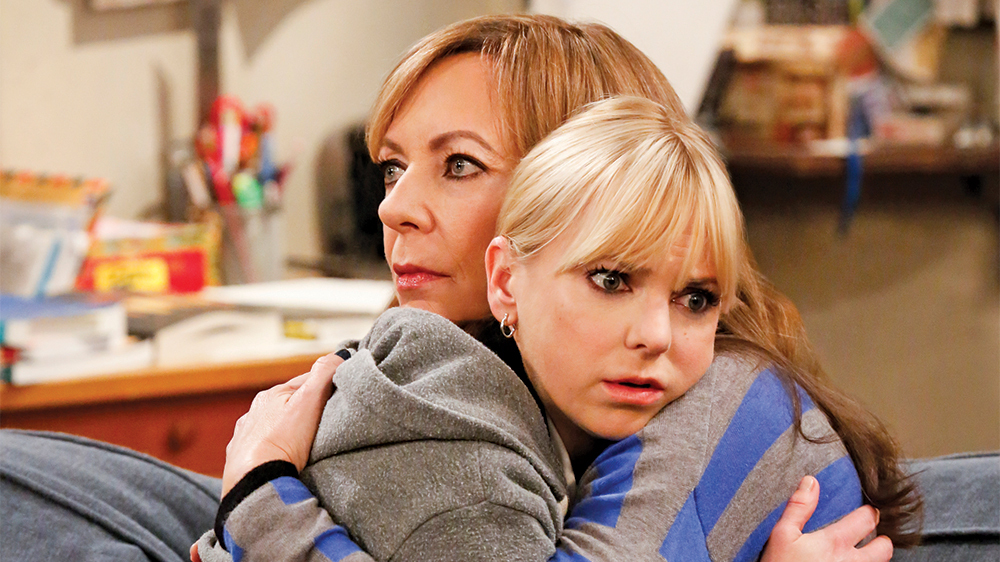 """Wind Chimes and a Bottomless Pit of Sadness"" -- Christy, Bonnie, Jill and Wendy get high after accidentally eating cookies filled with pot, on MOM, Thursday, Feb. 2 (9:01-9:30 PM, ET/PT) on the CBS Television Network. Pictured left to right: Anna Faris as Christy and Allison Janney as Bonnie. Photo: Robert Voets/Warner Bros. Entertainment Inc. © 2016 WBEI. All rights reserved."