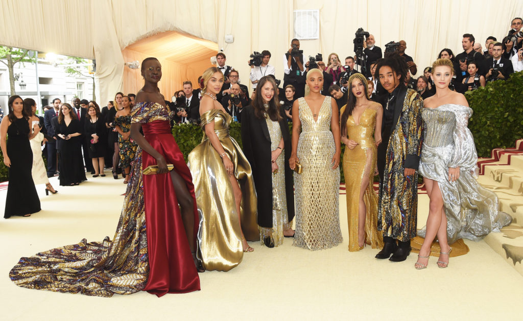 NEW YORK, NY - MAY 07:  (L-R) Alek Wek, Jasmine Sanders, Valerie Messika, Kiersey Clemons, Olivia Munn, Luka Sabbat, and Lili Reinhart attend the Heavenly Bodies: Fashion & The Catholic Imagination Costume Institute Gala at The Metropolitan Museum of Art on May 7, 2018 in New York City.  (Photo by Jamie McCarthy/Getty Images)