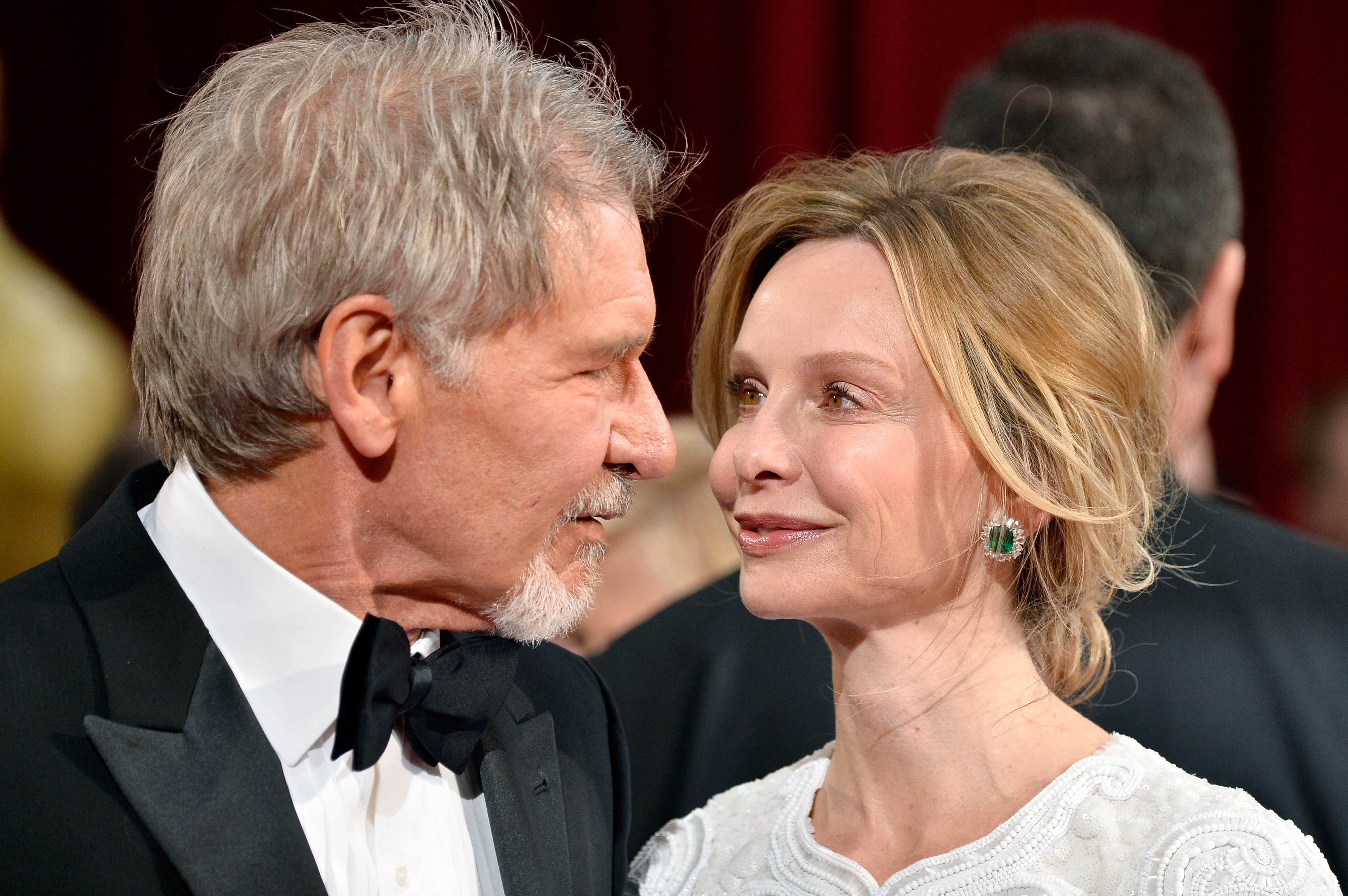 HOLLYWOOD, CA - MARCH 02:  Actors Harrison Ford (L) and Calista Flockhart attend the Oscars held at Hollywood & Highland Center on March 2, 2014 in Hollywood, California.  (Photo by Frazer Harrison/Getty Images)