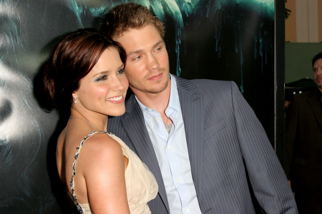 "WESTWOOD, CA - APRIL 26:  Actor Chad Michael Murray (R) and his wife actress Sophia Bush arrive at Warner Bros. Premiere Of ""House Of Wax"" at the Mann's Village Theater on April 26, 2005 in Westwood, California.  (Photo by Matthew Simmons/Getty Images)"