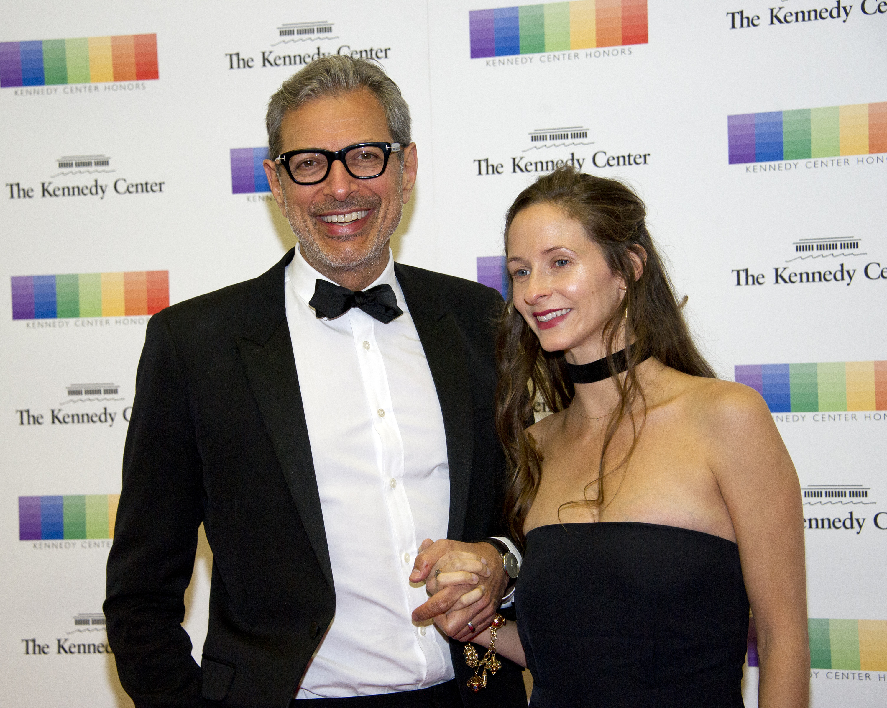 WASHINGTON, DC - DECEMBER 03:  Actor Jeff Goldblum and his wife, Emilie Livingston, arrive for the formal Artist's Dinner honoring the recipients of the 39th Annual Kennedy Center Honors hosted by United States Secretary of State John F. Kerry at the U.S. Department of State on December 3, 2016 in Washington, D.C. The 2016 honorees are: Argentine pianist Martha Argerich; rock band the Eagles; screen and stage actor Al Pacino; gospel and blues singer Mavis Staples; and musician James Taylor. (Photo by Ron Sachs - Pool /Getty Images)
