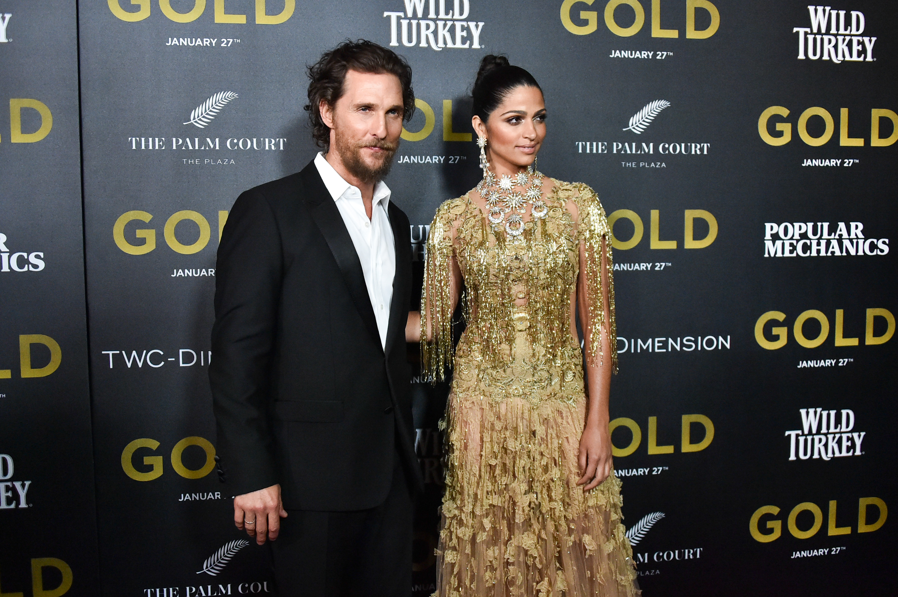 NEW YORK, NY - JANUARY 17:  Actors Matthew McConaughey and Camila Alves attends the world premiere of 'Gold' hosted by TWC - Dimension with Popular Mechanics, The Palm Court & Wild Turkey Bourbon at AMC Loews Lincoln Square 13 theater at AMC Loews Lincoln Square 13 theater on January 17, 2017 in New York City.  (Photo by Mike Coppola/Getty Images)