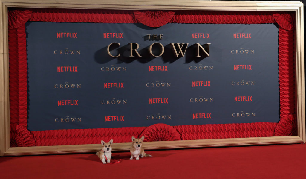 "LONDON, ENGLAND - NOVEMBER 21:  Royal Corgis at the World Premiere of season 2 of Netflix ""The Crown"" at Odeon Leicester Square on November 21, 2017 in London, England.  (Photo by John Phillips/Getty Images)"