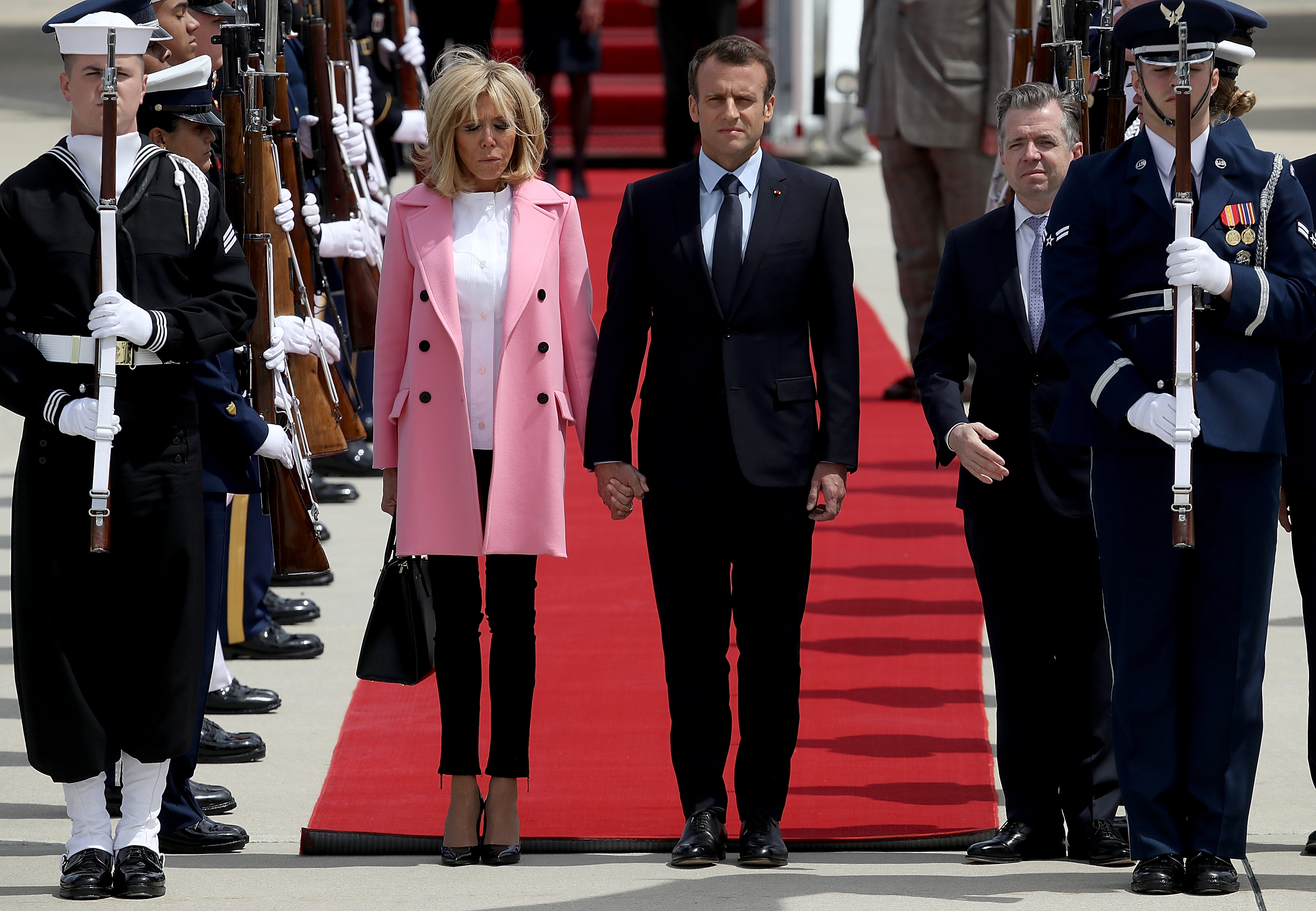 JOINT BASE ANDREWS, MD - APRIL 23:  French President Emmanuel Macron and  his wife Brigitte arrive at Andrews Air Force Base April 23, 2018 at Joint Base Andrews, Maryland. Macron is in Washington for the first state visit hosted by U.S. President Donald Trump.  (Photo by Win McNamee/Getty Images)