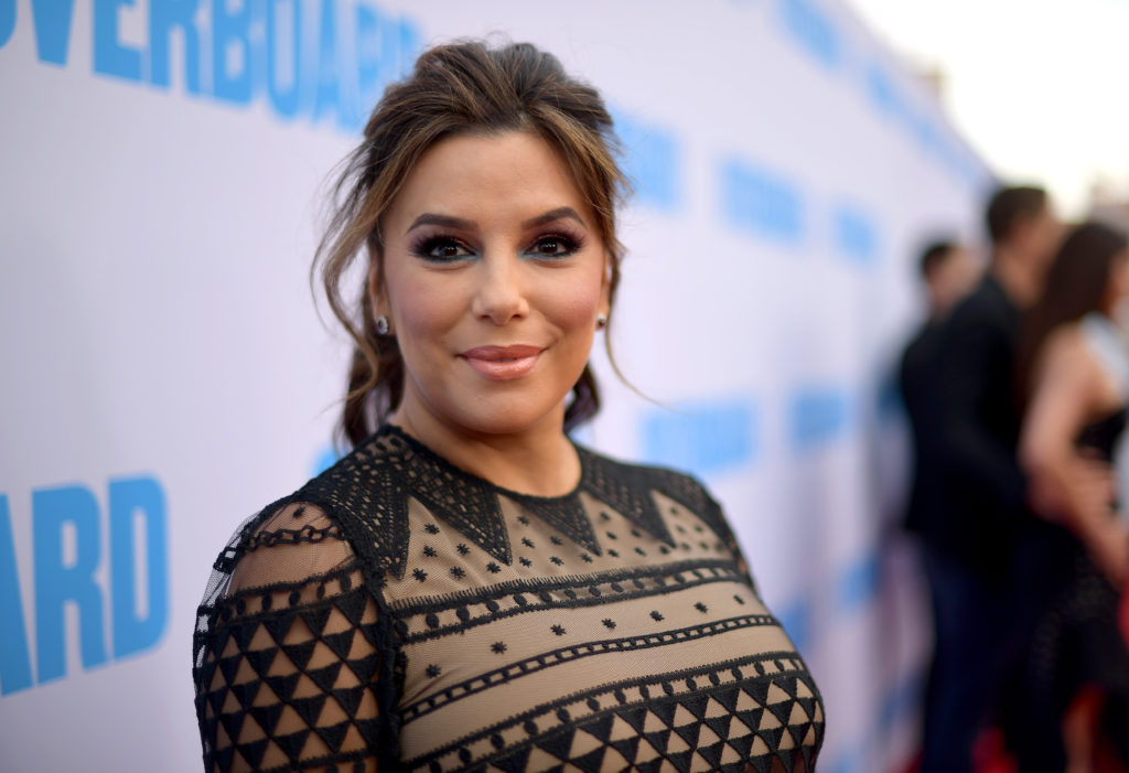 """WESTWOOD, CA - APRIL 30:  Eva Longoria attends the premiere of Lionsgate and Pantelion Film's """"Overboard"""" at Regency Village Theatre on April 30, 2018 in Westwood, California.  (Photo by Matt Winkelmeyer/Getty Images)"""