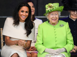 CHESTER, ENGLAND - JUNE 14:  Queen Elizabeth II sits with Meghan, Duchess of Sussex during a ceremony to open the new Mersey Gateway Bridge on June 14, 2018 in the town of Widnes in Halton, Cheshire, England. Meghan Markle married Prince Harry last month to become The Duchess of Sussex and this is her first engagement with the Queen. During the visit the pair will open a road bridge in Widnes and visit The Storyhouse and Town Hall in Chester.  (Photo by Jeff J Mitchell/Getty Images)
