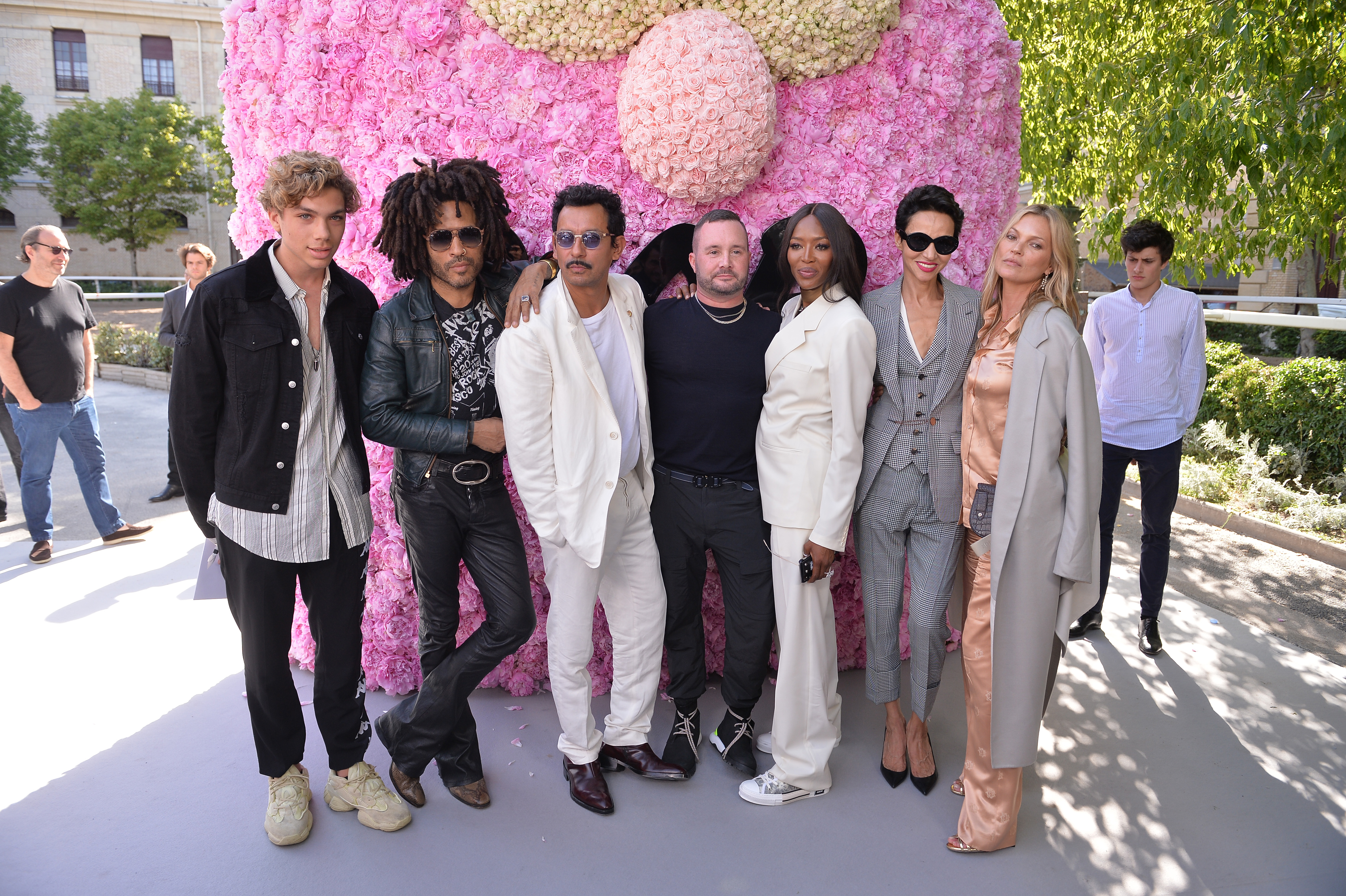 PARIS, FRANCE - JUNE 23:  (2L-R) Lenny Kravitz, Haider Ackermann, Kim Jones, Naomi Campbell, Farida Khelfa and Kate Moss  attend the Dior Homme Menswear Spring/Summer 2019 show as part of Paris Fashion Week on June 23, 2018 in Paris, France.  (Photo by Francois Durand/Getty Images for Dior)