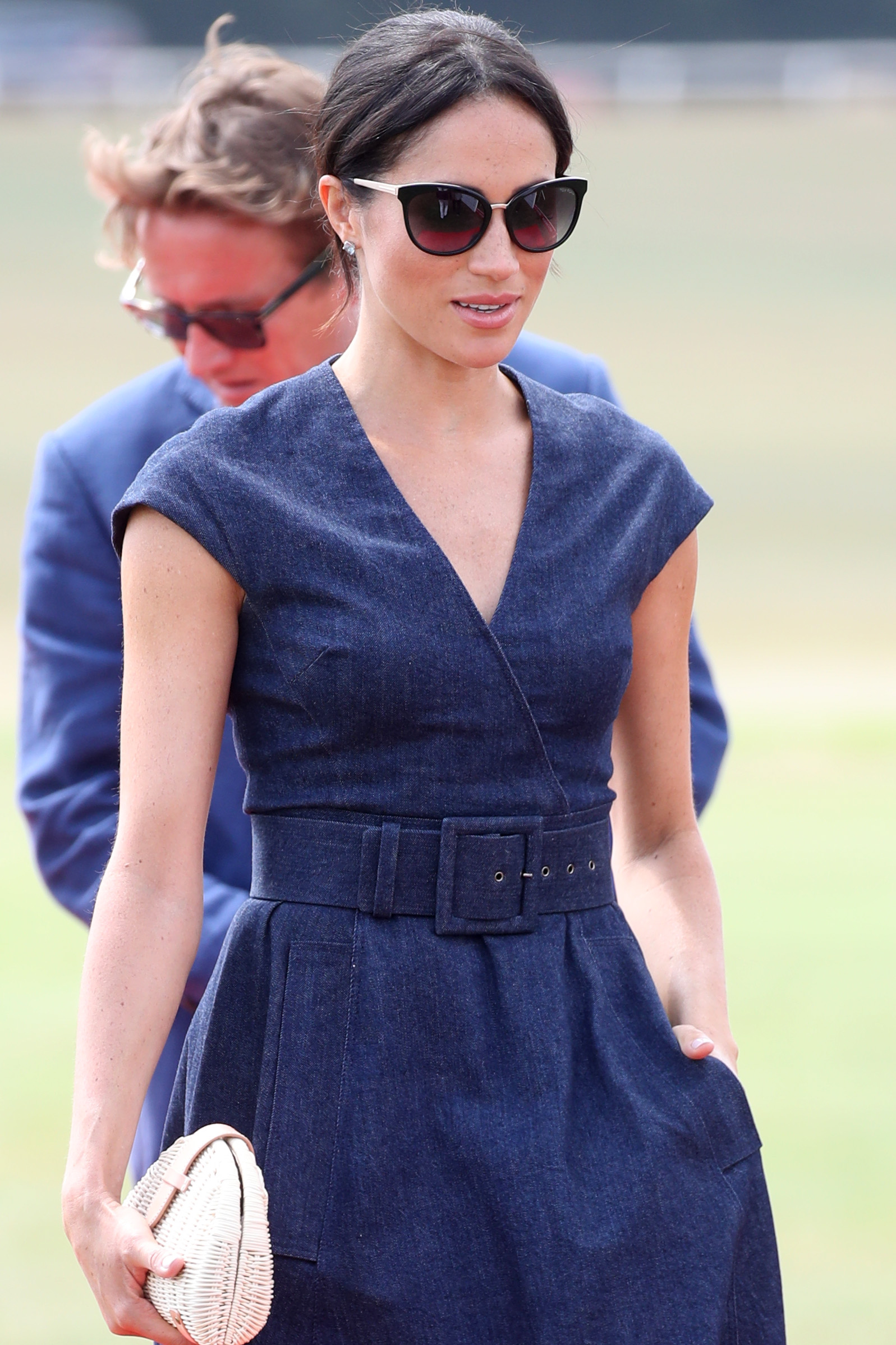 WINDSOR, ENGLAND - JULY 26: Meghan Duchess of Sussex arrives for the Sentebale Polo 2018 held at the Royal County of Berkshire Polo Club on July 26, 2018 in Windsor, England. (Photo by Chris Jackson/Getty Images)