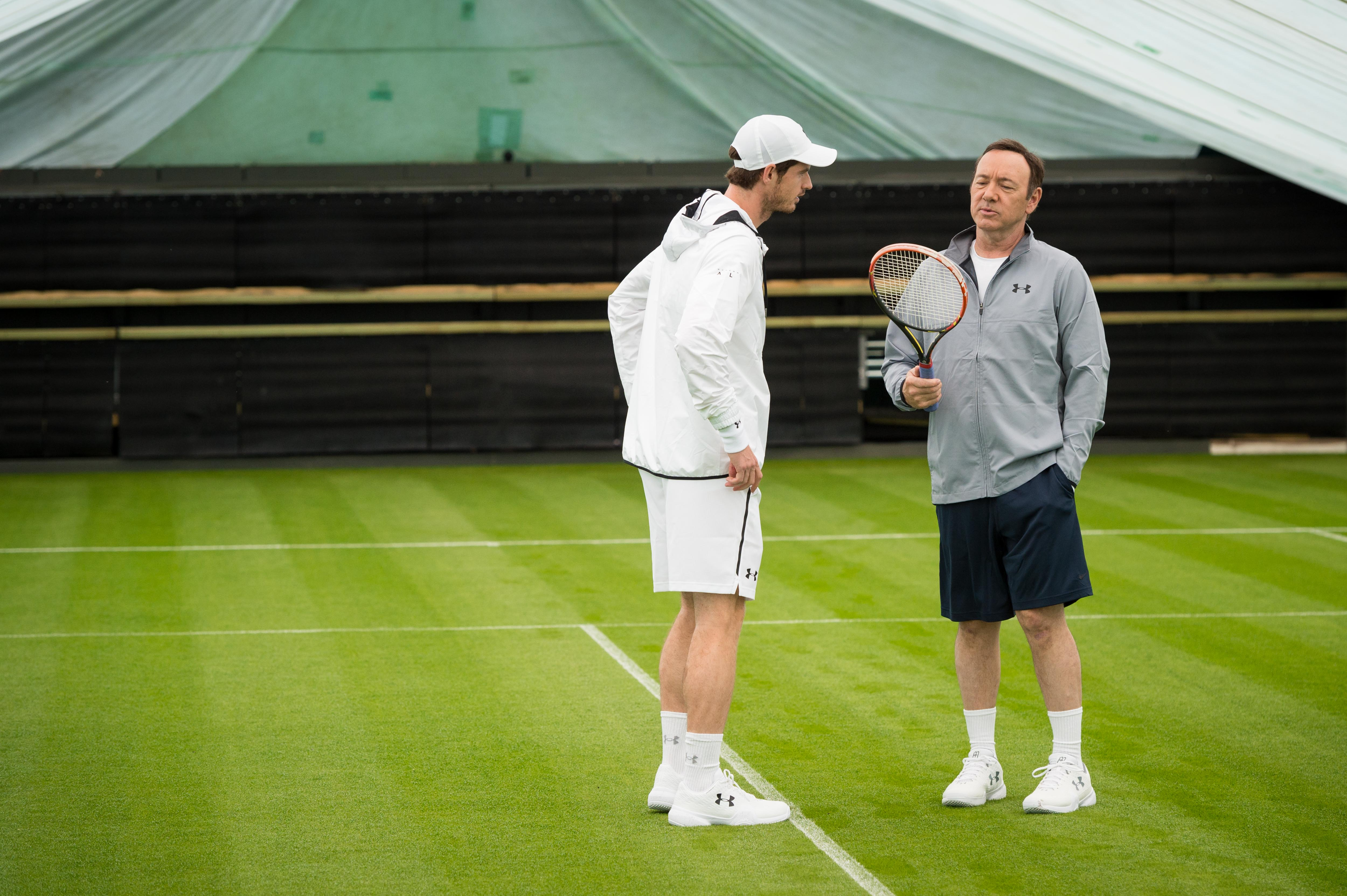 LONDON, UNITED KINGDOM - JUNE 20: Kicking off his campaign for The Championships at Wimbledon 2016, Andy Murray is joined by Kevin Spacey on the All England Club's Centre Court, to deliver a powerful message as part of WWF's campaign to help double the number of wild tigers by 2022, on June 20 in London, United Kingdom. This comes as WWF says that 2016 could be a pivotal year for tiger conservation as populations slowly start to recover. (Photo by Ian Gavan/Getty Images for WWF - UK)