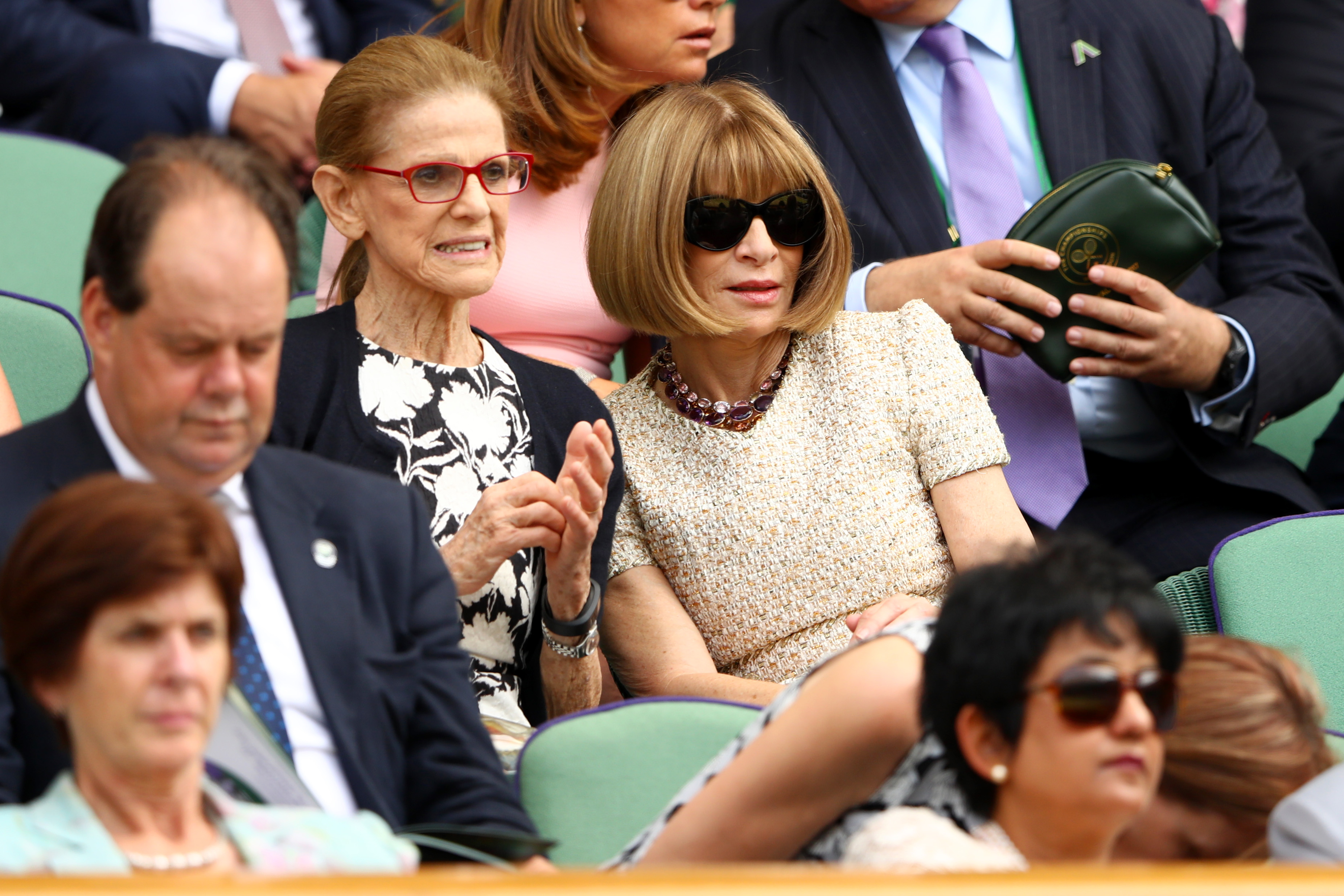 LONDON, ENGLAND - JULY 07: Dame Anna Wintour looks on from the centre court royal box on day five of the Wimbledon Lawn Tennis Championships at the All England Lawn Tennis and Croquet Club on July 7, 2017 in London, England. (Photo by Michael Steele/Getty Images)