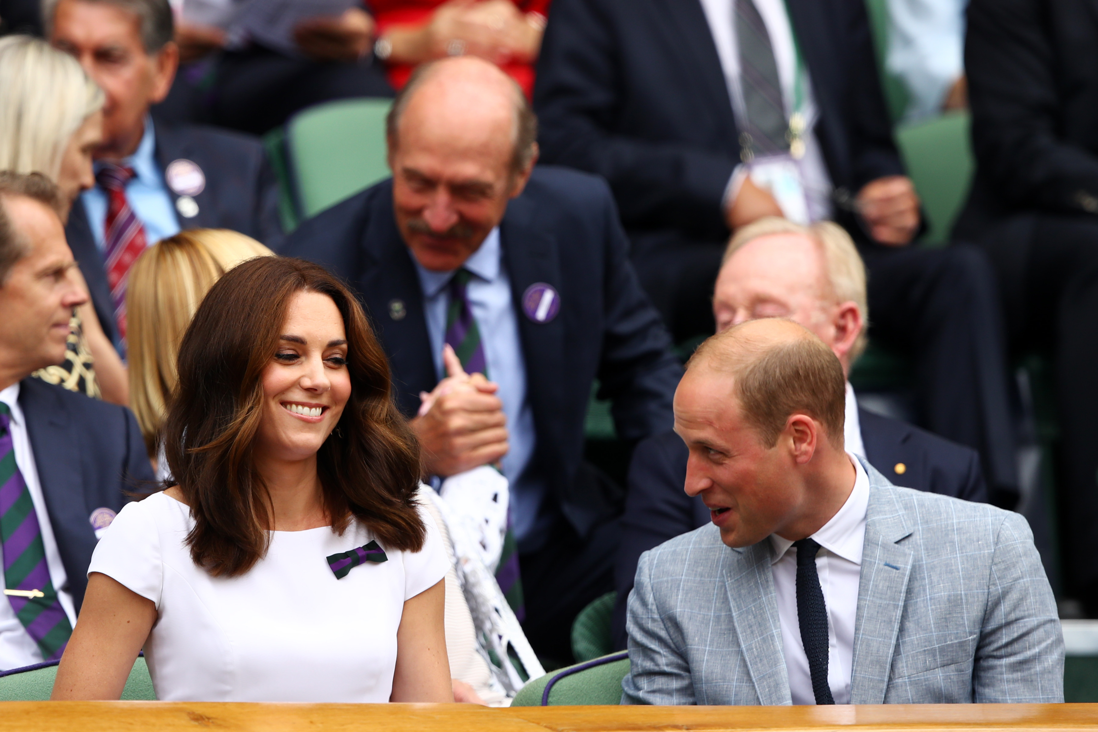 LONDON, ENGLAND - JULY 16: Prince William, Duke of Cambridge and Catherine, Duchess of Cambridge look on from the centre court royal box prior to the Gentlemen's Singles final between Roger Federer of Switzerland and Marin Cilic of Croatia on day thirteen of the Wimbledon Lawn Tennis Championships at the All England Lawn Tennis and Croquet Club at Wimbledon on July 16, 2017 in London, England. (Photo by Clive Brunskill/Getty Images)