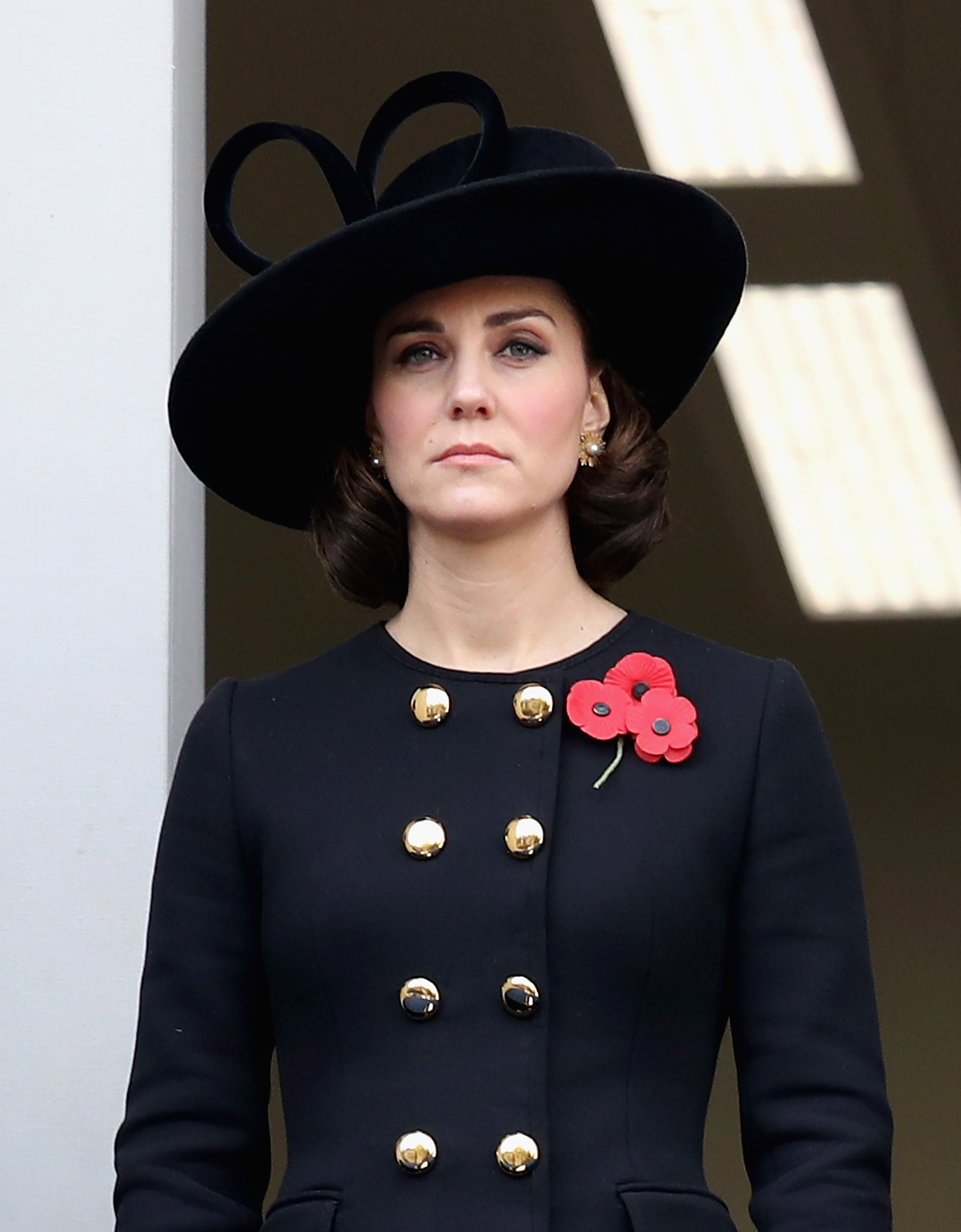 LONDON, ENGLAND - NOVEMBER 12: Catherine, Duchess of Cambridge during the annual Remembrance Sunday memorial on November 12, 2017 in London, England. The Prince of Wales, senior politicians, including the British Prime Minister and representatives from the armed forces pay tribute to those who have suffered or died at war. (Photo by Chris Jackson/Getty Images)