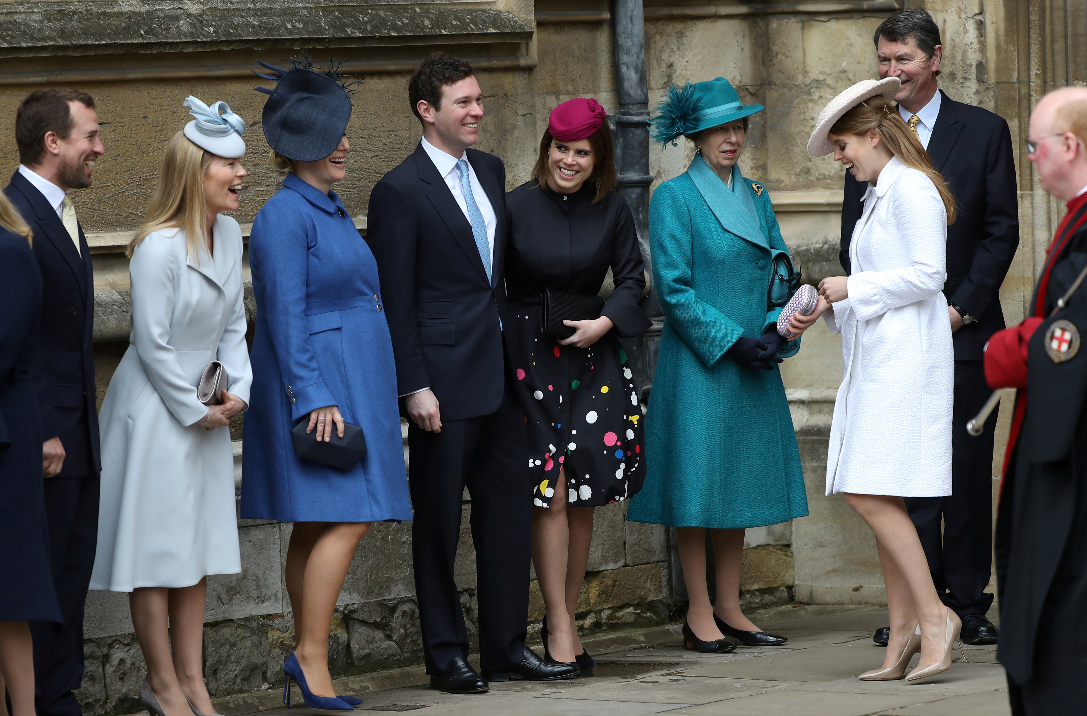 WINDSOR, ENGLAND - APRIL 1: Peter Phillips, Autumn Phillips, Zara Tindall, Jack Brooksbank, Princess Eugenie, Princess Anne, Princess Royal, Princess Beatrice and Vice Admiral Sir Timothy Laurence arrive for the Easter Mattins Service at St. George's Chapel at Windsor Castle on April 1, 2018 in Windsor, England. (Photo by Tolga Akmen - WPA Pool/Getty Images)