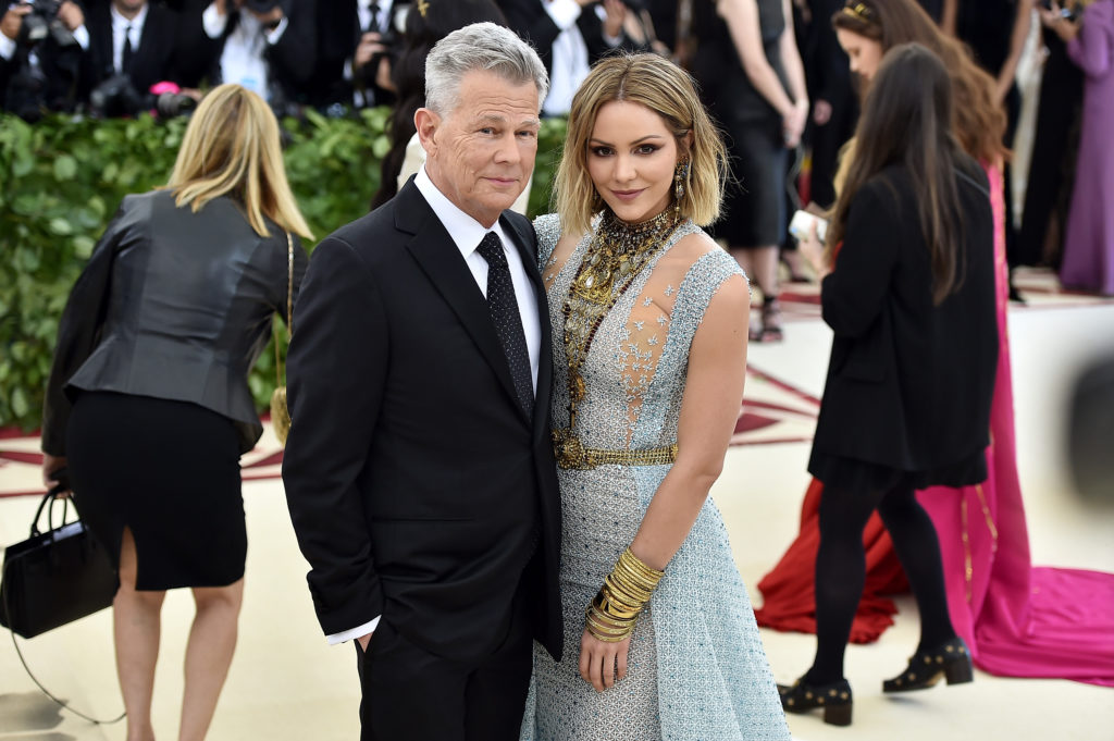 NEW YORK, NY - MAY 07:  Recording artist David Foster and Katharine McPhee attend the Heavenly Bodies: Fashion & The Catholic Imagination Costume Institute Gala at The Metropolitan Museum of Art on May 7, 2018 in New York City.  (Photo by Theo Wargo/Getty Images for Huffington Post)