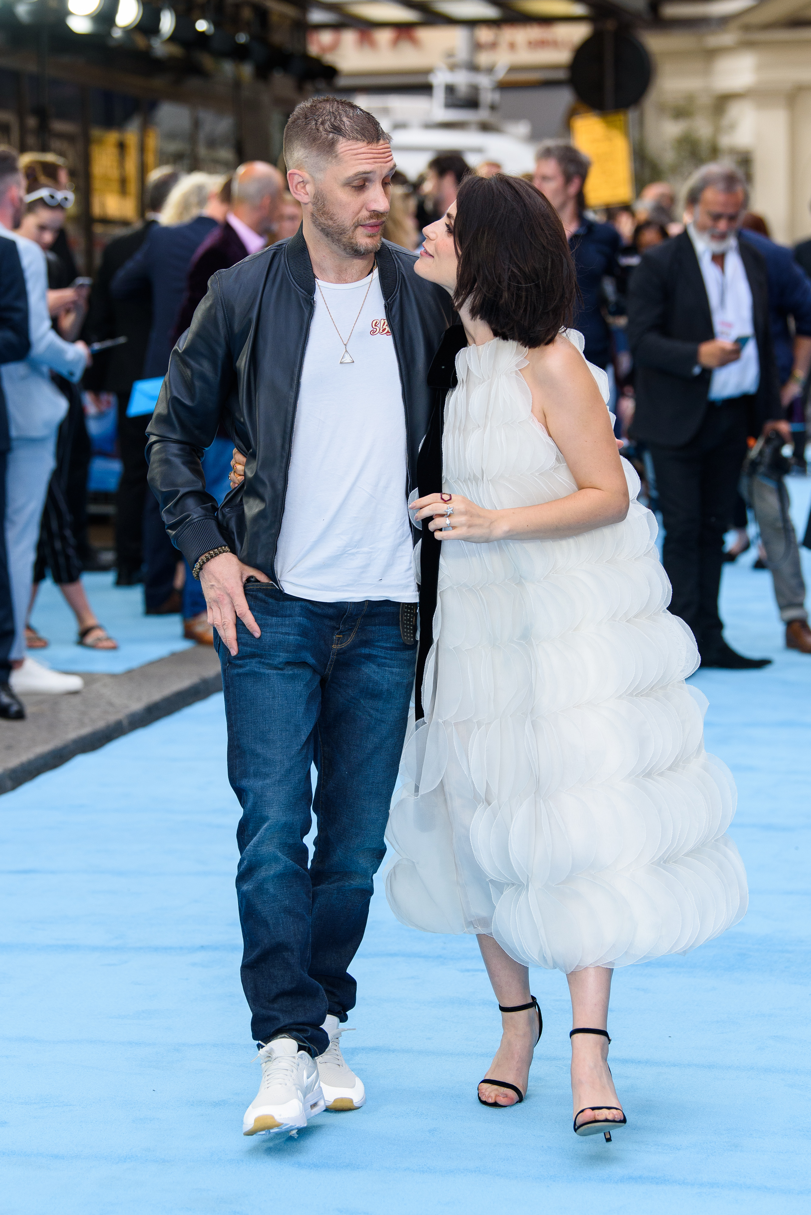 LONDON, ENGLAND - JULY 04: Charlotte Riley and Tom Hardy attend the 'Swimming With Men' UK Premiere at The Curzon Mayfair on July 4, 2018 in London, England. (Photo by Joe Maher/Getty Images)