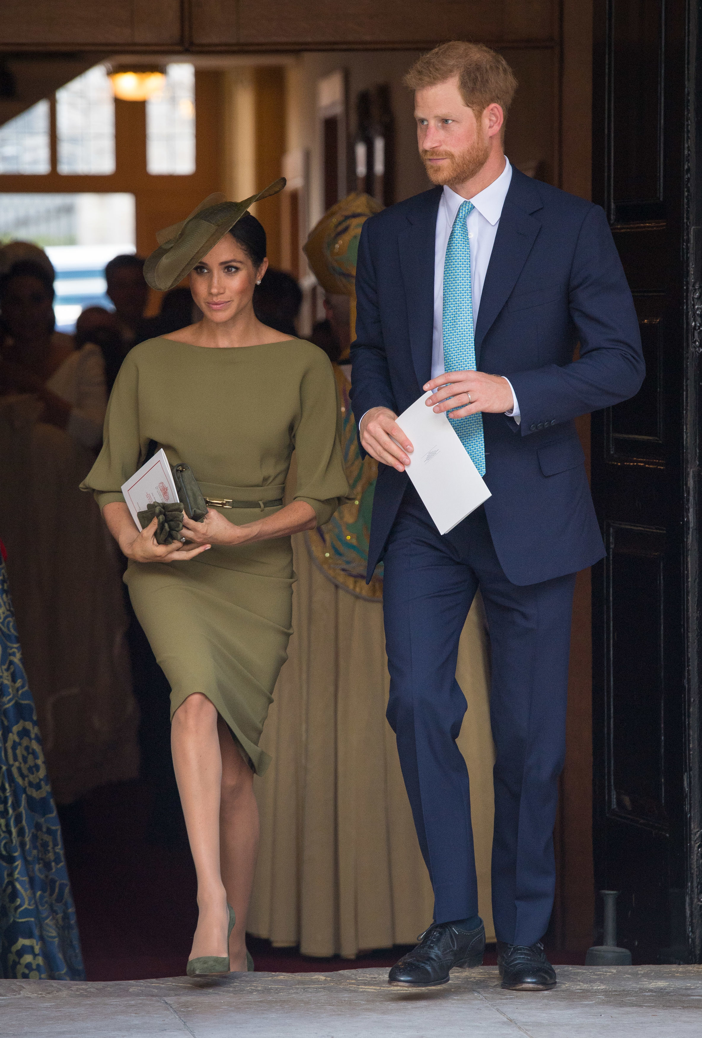 LONDON, ENGLAND - JULY 09: The Duke and Duchess of Sussex depart after attending the christening of Prince Louis at the Chapel Royal, St James's Palace on July 09, 2018 in London, England. (Photo by Dominic Lipinski - WPA Pool/Getty Images)