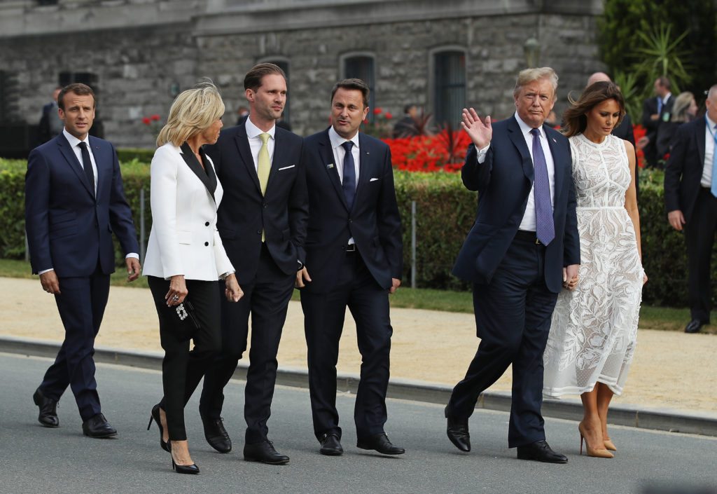 BRUSSELS, BELGIUM - JULY 11:  French President Emmanuel Macron, French First Lady Brigitte Macron, Luxembourg Prime Minister Xavier Bettel, U.S. President Donald Trump and U.S. First Lady Melania Trump attend the evening reception and dinner at the 2018 NATO Summit on July 11, 2018 in Brussels, Belgium. Leaders from NATO member and partner states are meeting for a two-day summit, which is being overshadowed by strong demands by U.S. President Trump for most NATO member countries to spend more on defense.  (Photo by Sean Gallup/Getty Images)