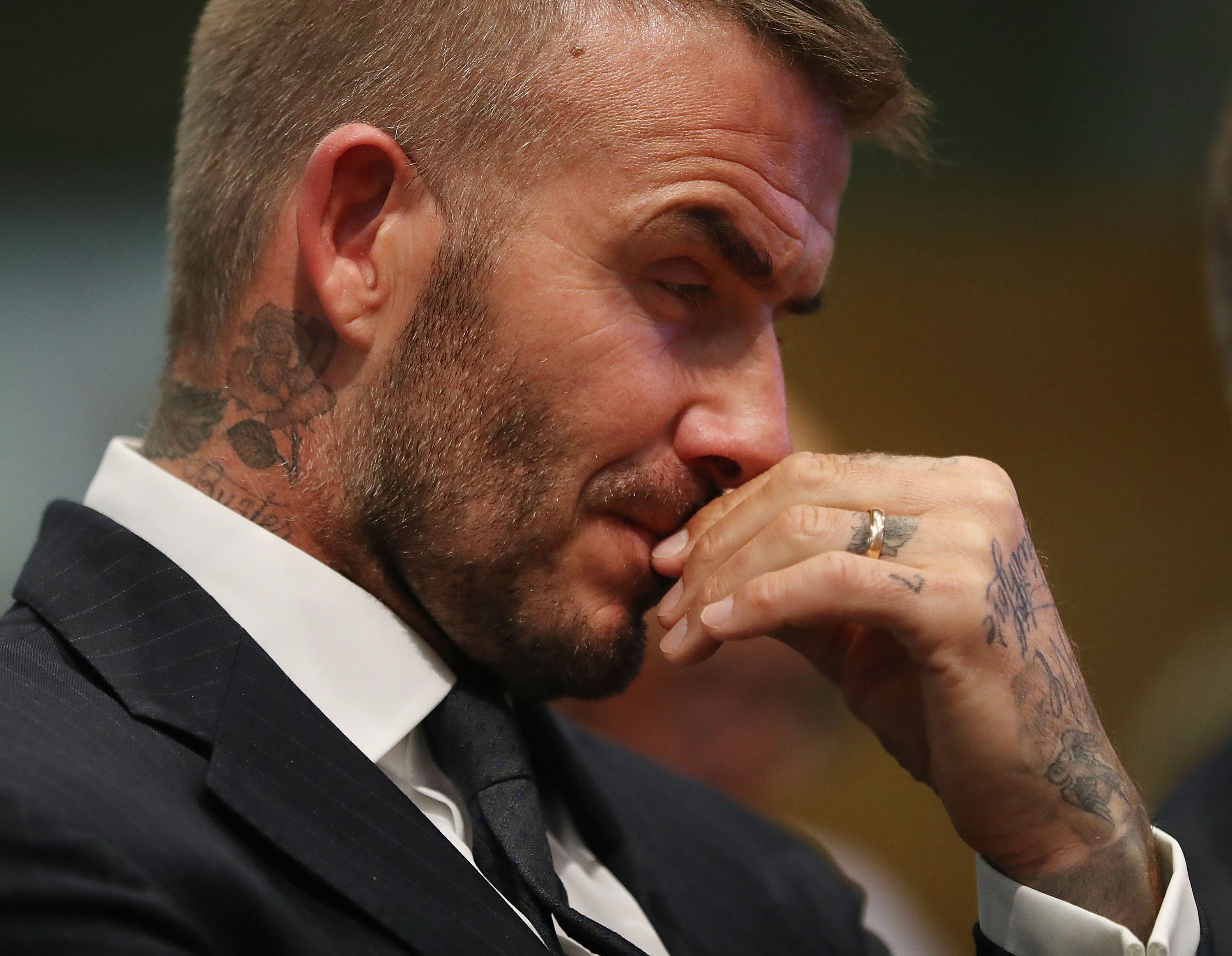 MIAMI, FL - JULY 12: David Beckham attends a meeting at the Miami City Hall during a public hearing about building a Major League soccer stadium on a public golf course on July 12, 2018 in Miami, Florida. Mr. Beckham and his partners attended the meeeting at city hall in their effort to build a Major League Soccer stadium in the City of Miami for their professional soccer team. (Photo by Joe Raedle/Getty Images)