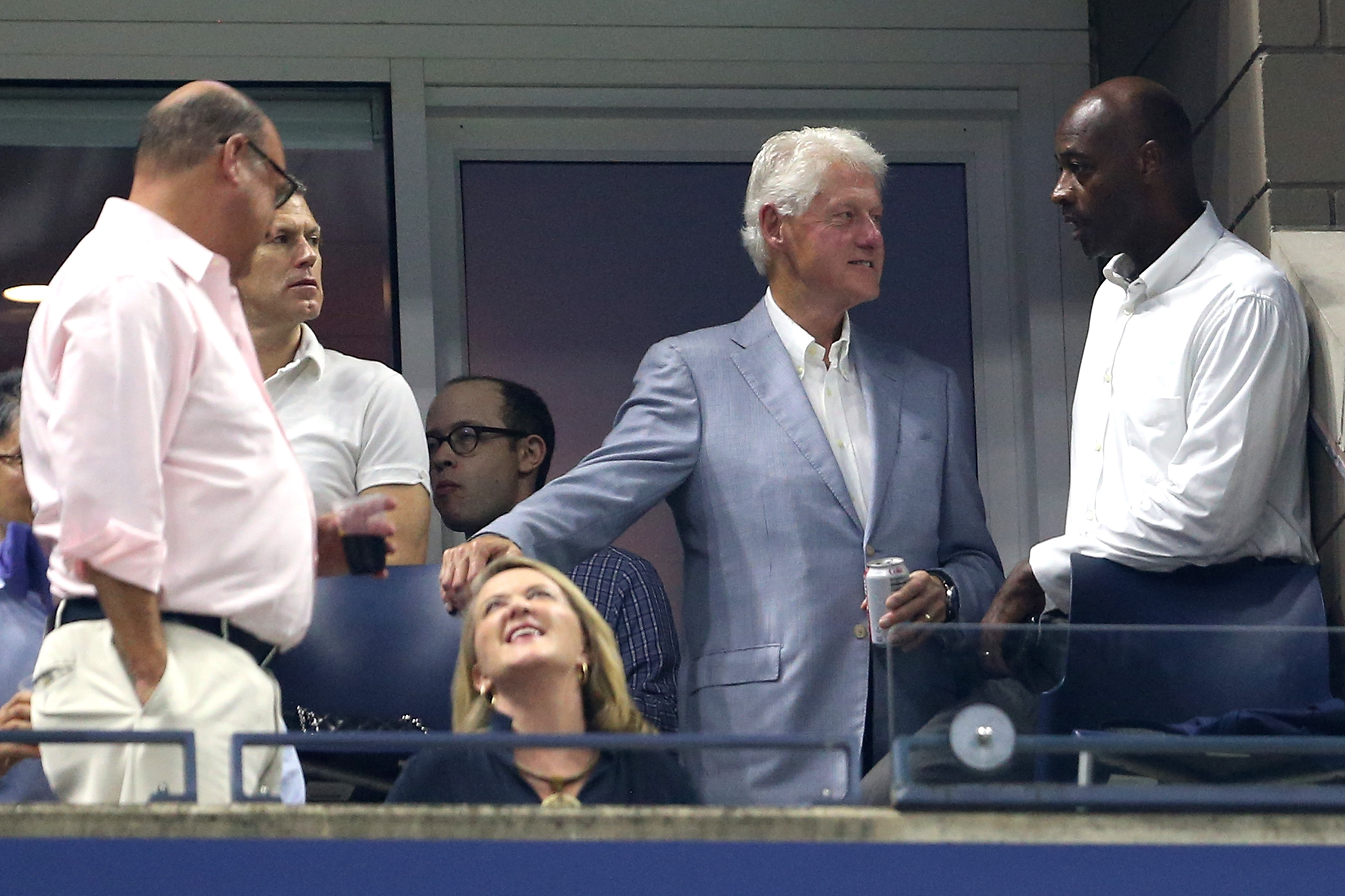 NEW YORK, NY - SEPTEMBER 03: Former President of The United States, Bill Clinton watches on during the men's singles fourth round match between Roger Federer of Switzerland and John Millman of Australia on Day Eight of the 2018 US Open at the USTA Billie Jean King National Tennis Center on September 3, 2018 in the Flushing neighborhood of the Queens borough of New York City. (Photo by Alex Pantling/Getty Images)