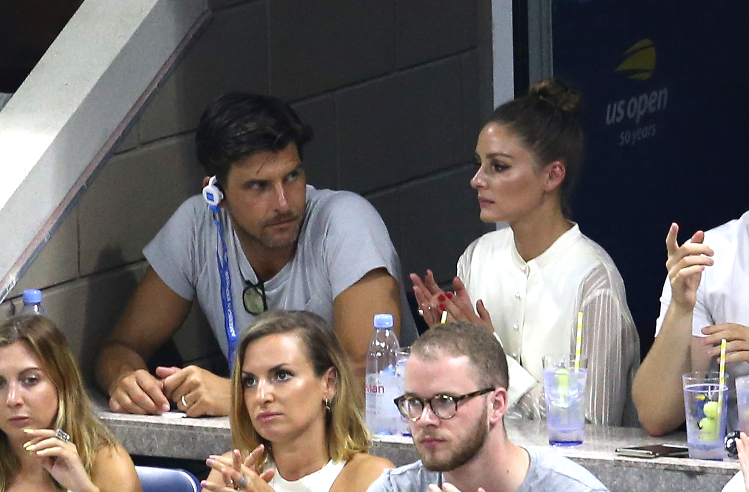 NEW YORK, NY - SEPTEMBER 03: Olivia Palermo and husband Johannes Huebl visit the Grey Goose suite at Arthur Ashe Stadium during the 2018 US Open at the USTA Billie Jean King National Tennis Center on September 3, 2018 in the Flushing neighborhood of the Queens borough of New York City. (Photo by Getty Images/Getty Images for Grey Goose)