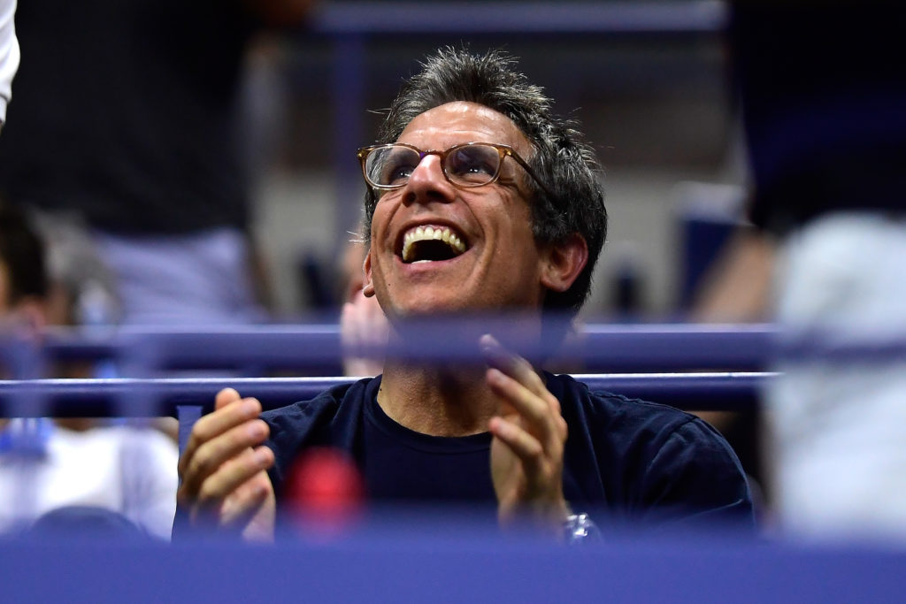 NEW YORK, NY - SEPTEMBER 04:  Actor Ben Stiller cheers during the men's singles quarter-final match between Rafael Nadal of Spain and Dominic Thiem of Austria on Day Nine of the 2018 US Open at the USTA Billie Jean King National Tennis Center on September 4, 2018 in the Flushing neighborhood of the Queens borough of New York City.  (Photo by Steven Ryan/Getty Images)