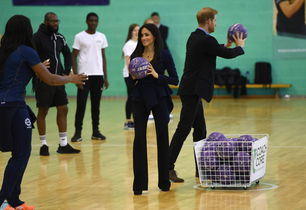 LOUGHBOROUGH, ENGLAND - SEPTEMBER 24: Prince Harry, Duke of Sussex and Meghan, Duchess of Sussex attend the Coach Core Awards held at Loughborough University on September 24, 2018 in Loughborough, England.  (Photo by Eddie Mulholland - WPA Pool/Getty Images)
