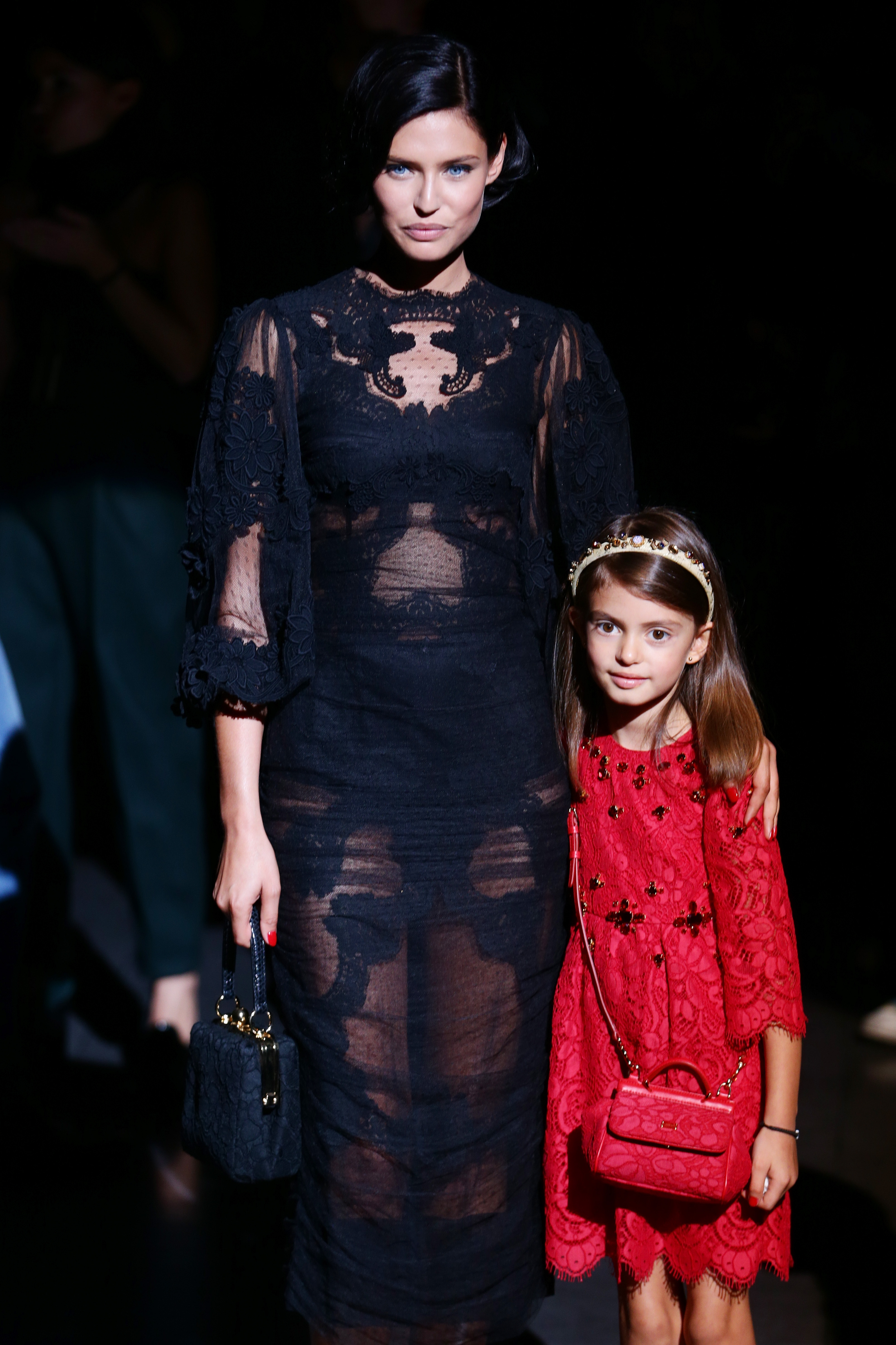 MILAN, ITALY - SEPTEMBER 22:  Bianca Balti and her daughter Matilde attend the Dolce & Gabbana show as part of Milan Fashion Week Womenswear Spring/Summer 2014 at  on September 22, 2013 in Milan, Italy.  (Photo by Vittorio Zunino Celotto/Getty Images)