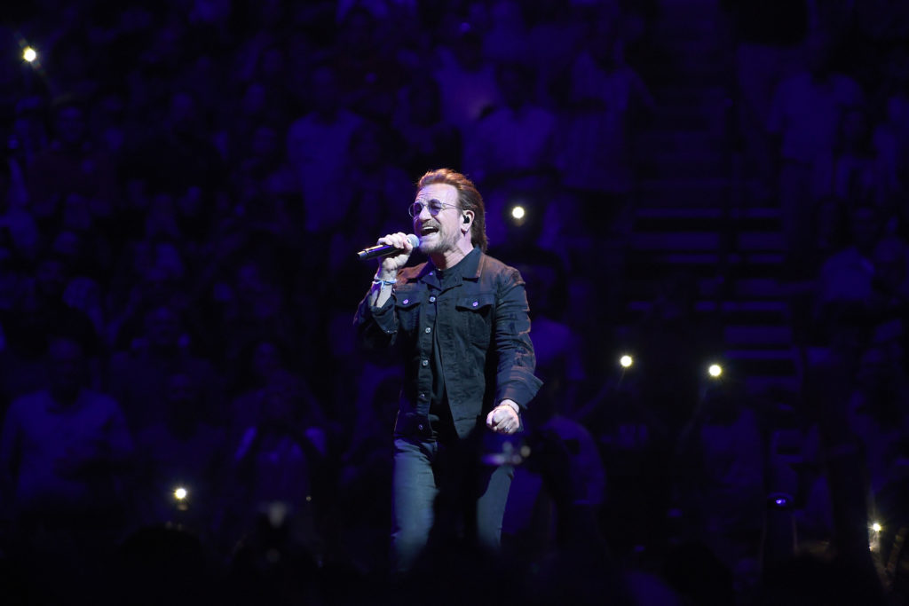 NASHVILLE, TN - MAY 26:  Bono of the rock band U2 performs at Bridgestone Arena on May 26, 2018 in Nashville, Tennessee.  (Photo by Jason Kempin/Getty Images)